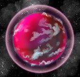 Pink alien planet with atmosphere Stock Photography