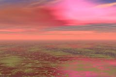 Pink alien skys. Pink skys and fishy water Royalty Free Stock Photo