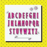 Pink alphabet capital letters set on yellow dotted pattern. Pink cute and girlie capital alphabet letters set on yellow dotted pattern background Royalty Free Stock Image