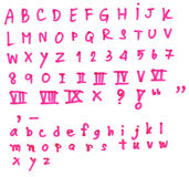 Pink alphabet on white Royalty Free Stock Photo