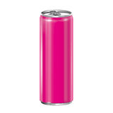 Pink aluminum can on white background. Stock Photo