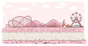 Pink amusement park background royalty free illustration