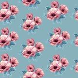 Pink anemone seamless pattern on blue backround. Women fashion fabric pattern. Hand drawn watercolor flowers vector illustration