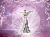 Pink angel archangel with heart and rays of light like love, peace and belief concept stock illustration