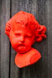 Pink angel face, sculpture Stock Images