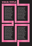Pink Angular Divider on Black Background Page Layout Design Royalty Free Stock Photo