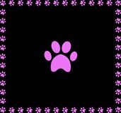Pink animal pawprint icon framed with paw prints. Square border isolated on black  background. Vector illustration, sign, symbol, icon, clip art, banner, poster Stock Photography