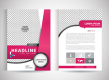 Pink annual report brochure flyer design template vector, Leaflet cover presentation abstract flat background, layout in A4 size Royalty Free Stock Image