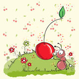 Pink ant eating cherry - everything grouped for ea. Sy use Royalty Free Stock Photo