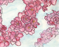 Pink apple blossom painting. Artistic watercolor painting on pink apple blossom on light background stock illustration