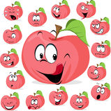 Pink apple with many expressions - funny apple vector Stock Photos