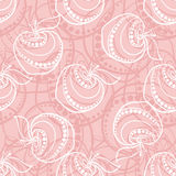 Pink Apple Pattern. Pink and white small and big apples on the light-pink background Stock Photography