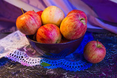 Pink apples in a bowl_1 Stock Photo