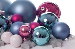 Pink and aqua Christmas balls Stock Photo