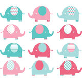 Pink and Aqua Cute Elephant set. Royalty Free Stock Photo