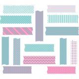 Pink and Aqua Washi Tape Graphics set Stock Image