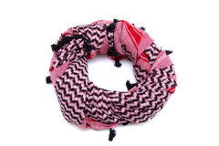 Pink arabic scarf  on white background. The pink arabic scarf  on white background Stock Photo