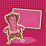 Pink Armchair and picture on checked background. Card with empty space for your text Stock Photography