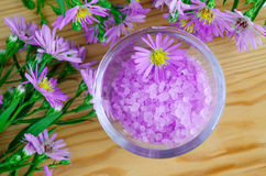 Pink aroma bath salt with flowers extract royalty free stock photo