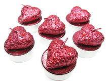 Pink aroma spa candles set heart shape. Set of aroma heart candles as present Royalty Free Stock Photos