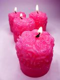Pink aroma spa scented candles set Royalty Free Stock Photography