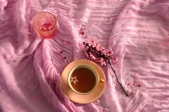 Pink Arrangement of Cherry Blossoms and Tea stock photography