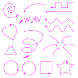 Pink arrows drawn in different forms and directions. Shapes, spiral and other forms drawn of arrows in the form of Christmas candy Stock Photography