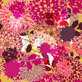 Pink art. Seamless vector background with drawing garden flowers Stock Photography
