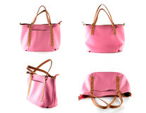 Pink artificial leather bag Stock Images