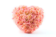 Pink artificial roses heart. Isolated on white Royalty Free Stock Photos