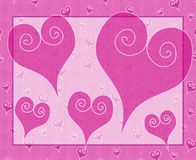 Pink Artsy Valentine's Day Hearts Card. A background illustration featuring a variety of decorative Valentine's Day hearts in pink with white spirals set against royalty free illustration