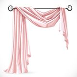 Pink asymmetric curtains on the ledge forged Stock Image