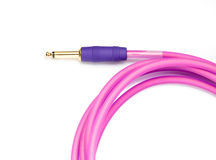 Pink Audio Cable on White background Royalty Free Stock Photography