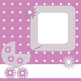 Pink babies photo frame Stock Image