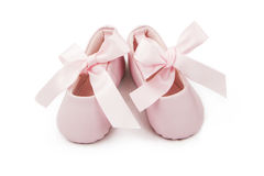 Pink Baby Ballerina Booties. Pair of little pink baby ballerina bootoes with ribbons tied in a bow Stock Images