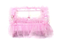 Pink baby basket Royalty Free Stock Photos