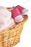 Pink Baby Blanket and Booties Royalty Free Stock Photos