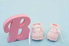 Pink Baby Booties Royalty Free Stock Photography
