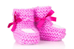 Pink baby booties Stock Image
