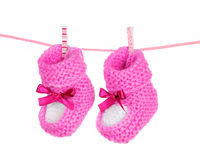 Pink baby booties Stock Photo