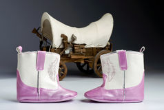 Pink Baby Boots. Royalty Free Stock Photos