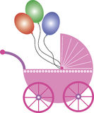Pink baby buggy with balloons. A pink baby buggy with colored balloons. Useful for advertising, print and web. This file is also available as EPS_file stock illustration