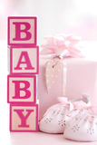 Pink baby building blocks royalty free stock images