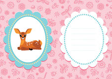 Pink baby card with baby deer Royalty Free Stock Image