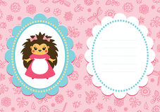Pink baby card with hedgehog Stock Images