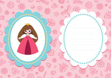 Pink baby card with little princess Stock Photos