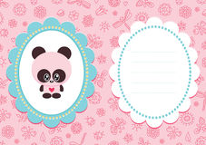 Pink baby card with panda Stock Photos