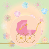 Pink baby carriage Royalty Free Stock Photos