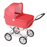 Pink baby carriage - cradle for newborn girl Royalty Free Stock Photography