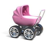 Pink baby carriage with sport car wheels Royalty Free Stock Photos